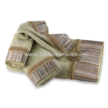 medallion stripe sage bath towels by avanti 100 cotton - Decorative Bath Towels
