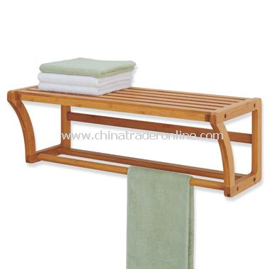 Neu Home Lohas Bamboo Wall Mounted Shelf with Towel Bar