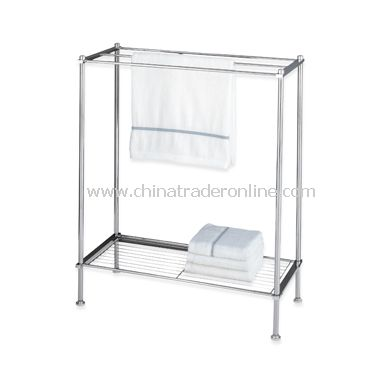 Neu Home Metro Chrome 3-Bar Towel Stand with Shelf