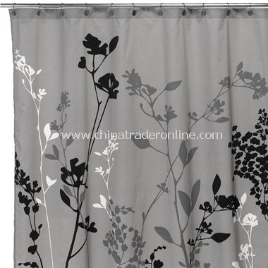 Reflections Gray Fabric Shower Curtain From China