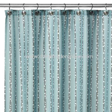 2-in-1 Bubbles on a String Fabric Shower Curtain - Aqua