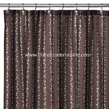 2-in-1 Bubbles on a String Fabric Shower Curtain - Coffee