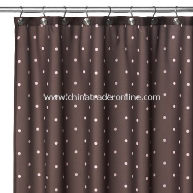 2-in-1 Polka-Dot Fabric Shower Curtain