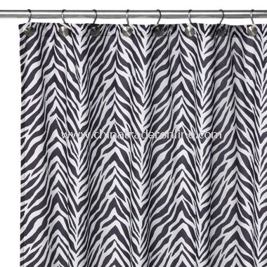 2-in-1 Zebra Fabric Shower Curtain - Black/White