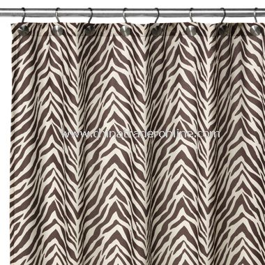 2-in-1 Zebra Fabric Shower Curtain - Brown/White