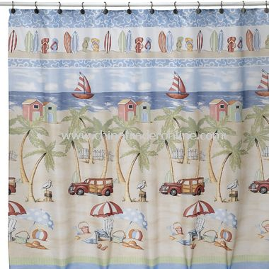 Beach Bum Fabric Shower Curtain by Saturday Knight Limited