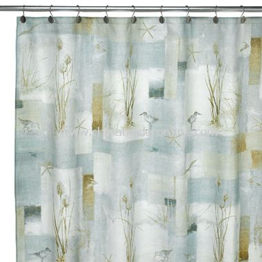 Blue Waters Fabric Shower Curtain from China