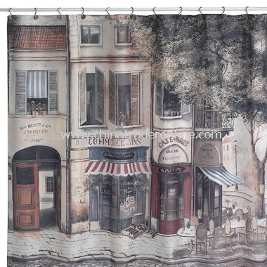 Cafe de Paris Fabric Shower Curtain
