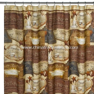 promotional 2-in-1 Bubbles on a String Fabric Shower Curtain