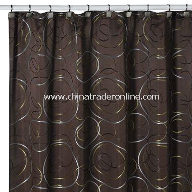 Eclipse Chocolate Fabric Shower Curtain