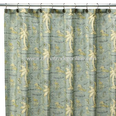 Island Song Fabric Shower Curtain