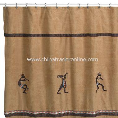 Kokopelli Nutmeg Fabric Shower Curtain by Avanti