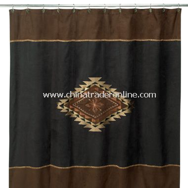 Mojave Black and Brown Fabric Shower Curtain