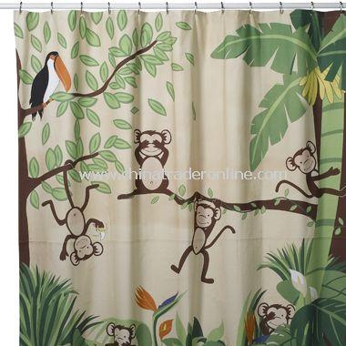 Monkeying Around Fabric Shower Curtain