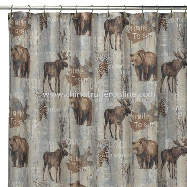 mountain trail fabric shower curtain from china