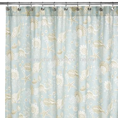 Yellow Print Shower Curtain Sea Shells Vinyl Shower Curtain