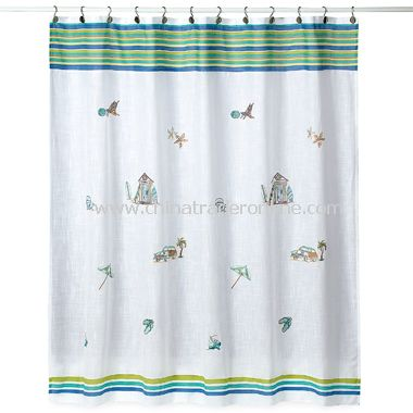 Ocean Surf Fabric Shower Curtain by Croscill