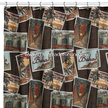 Postcards Fabric Shower Curtain by Tommy Bahama