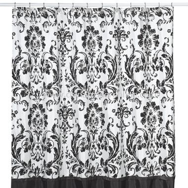 Rosewood Black and White Shower Curtain by Nicole Miller