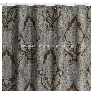 Royalton Chocolate Fabric Shower Curtain by Croscill