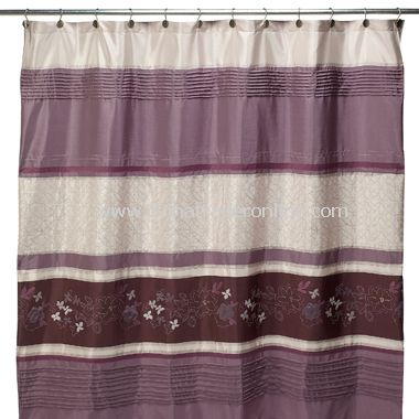 Silhouette Purple Fabric Shower Curtain