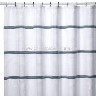White Waffle Stripe Shower Curtain