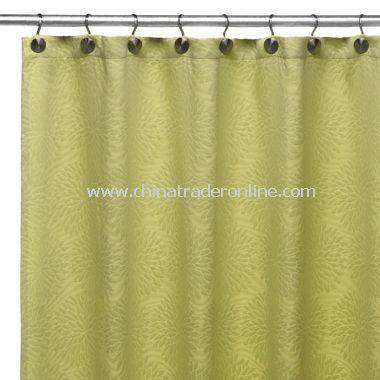 DKNY Chrysanthemum Floral Lime Fabric Shower Curtain