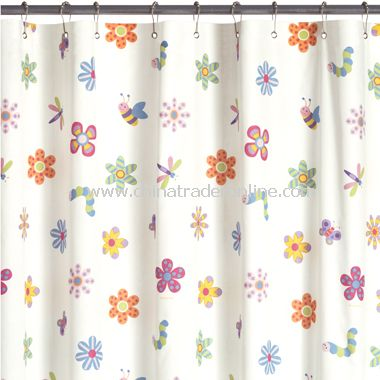 flowerland fabric shower curtain