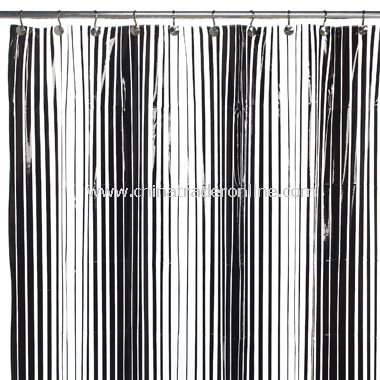 Graduated Lines Vinyl Shower Curtain - Black