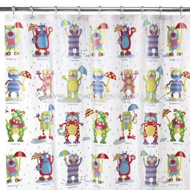 Home Moody Monsters Vinyl Shower Curtain