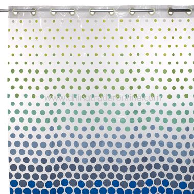 Hookless Blue Dot Vinyl Shower Curtain