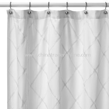 Hotel Collection Valencia White Fabric Shower Curtain From China