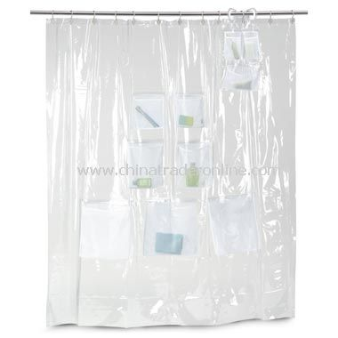 Mesh Pockets Vinyl Shower Curtain