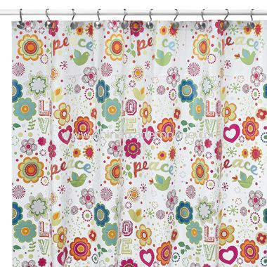 Peace & Love Vinyl Shower Curtain