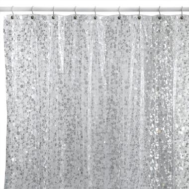Pebbles Silver Vinyl Shower Curtain