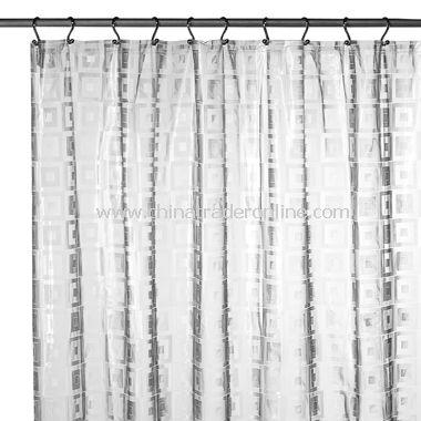 Square Blocks Linen PVC Vinyl Shower Curtain