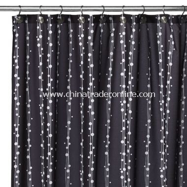 2-in-1 Bubbles on a String Fabric Shower Curtain - Black