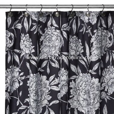 2-in-1 Peony Fabric Shower Curtain