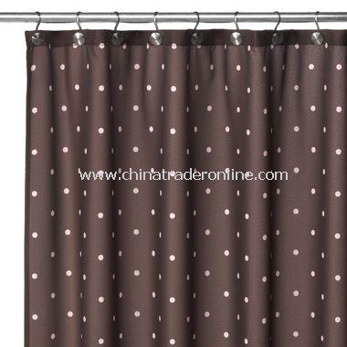2-in-1 Polka-Dot Fabric Shower Curtain