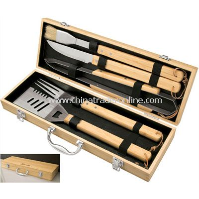 5Pc Bamboo Bbq Set