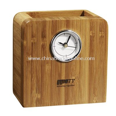 Bamboo Pen Cup Clock from China