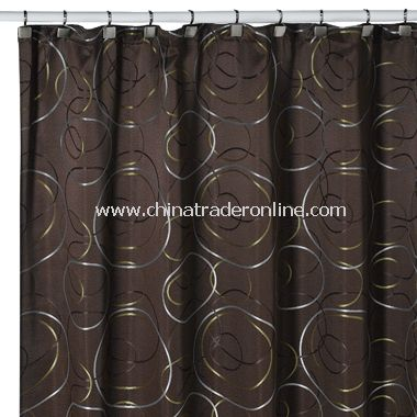 Eclipse Chocolate Fabric Shower Curtain From China