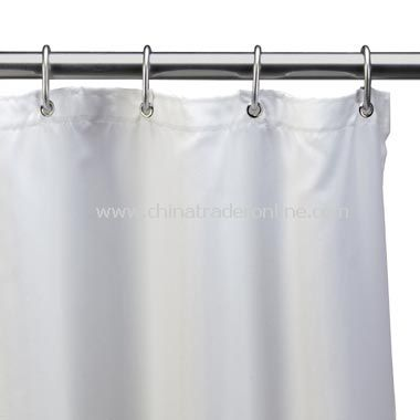 Hotel White Fabric Shower Curtain Liner