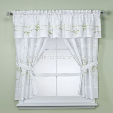 Lantana Taupe Bathroom Window Curtains, 100% Cotton