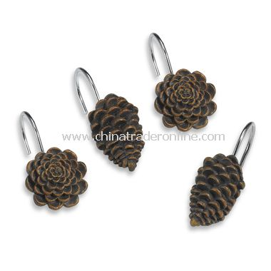 Pinecone Lodge Shower Curtain Hooks (Set of 12)