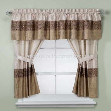 Romana Taupe Bathroom Window Curtains, 100% Cotton