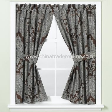 Royalton Chocolate Bathroom Window Curtain Pair