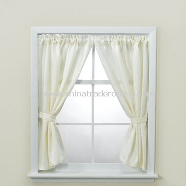 Weston Bathroom Window Curtain Pair with Tiebacks and Hooks