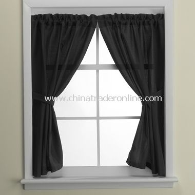 Weston Black Bathroom Window Curtain Pair