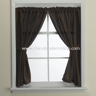 Weston Mocha Bathroom Window Curtain Pair